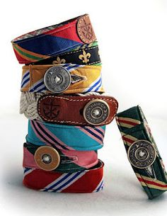 Bracelets from old ties.I could even sew them into actual belts. LOVE this idea for some of Jason's old ties! Diy Fashion Projects, Craft Projects, Craft Ideas, Sewing Projects, Old Ties, Crafty Craft, Crafting, Diy Accessories, Crafts To Do