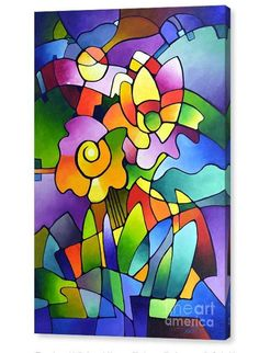Giclee art print from my cubist painting canvas giclee print