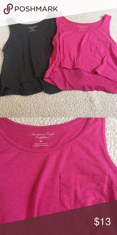 Crop top BUNDLE Pink and grey cute loose- fitting crop tops with pocket on front. Both the same but pink is size small and grey is xs. American Eagle Outfitters Tops Crop Tops