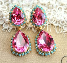 Pink and Turquoise Crystal chandelier statement earrings teardrops - gold plated earrings real swarovski rhinestones from Petite Delights By Ilona. Pink Earrings, Gold Plated Earrings, Turquoise Earrings, Bridal Earrings, Statement Earrings, Stud Earrings, Rhinestone Earrings, Vintage Rhinestone, Pink Chandelier