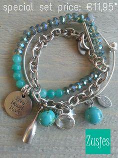 Set armbanden turquoise voor bestellen: http://www.mijnwebwinkel.nl/winkel/zusjessieraden/