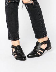Park Lane   Park Lane Strappy T Bar Leather Flat Shoes at ASOS
