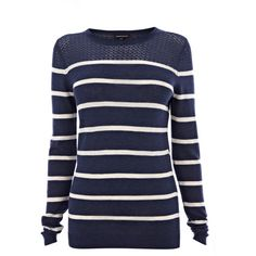 Warehouse Pretty Pointelle Stripe Jumper ($29) ❤ liked on Polyvore featuring tops, sweaters, shirts, blusas, long sleeves, blue sweater, striped shirt, sheer long sleeve shirt, crewneck sweater and blue striped sweater