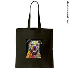 Beware of Pit Bull Canvas Tote Bag. Available now on our website. www.deanrussoart.com.