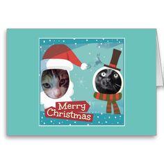cute purrfect Santa Cats holiday card