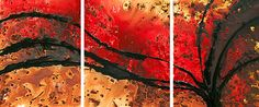 Red Painting Brown Abstract Art Texture Triptych Large Canvas Earthy Earth Tones Tan Sharon Cummings  - Greater Heights