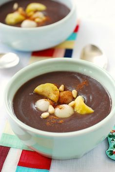 danpatjuk - korean sweet red bean porridge with rice dumplings.