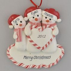Family of Snowmen (3) Heart Personalized Clay Dough Ornament