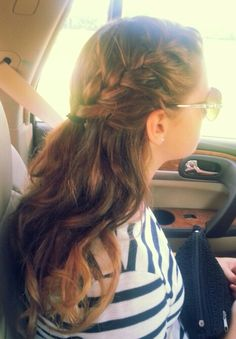Ombre French braid with super loose curls