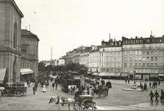 L'agitation de la place de Rennes devant l'ancienne gare de Montparnasse, vers 1900  (Paris 6ème/15ème)