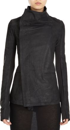 Rick Owens Leather Asymmetrical Jacket at Barneys.com. Again, can I have this in something besides leather? And what's with the sheer dress? $2075