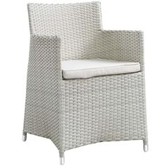 JUNCTION DINING OUTDOOR PATIO ARMCHAIR IN GRAY WHITE - Mocofu