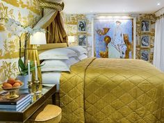 A suite on board the SS Catherine resembles a floating art gallery. Yellow Quadrille Lyford pagoda wallpaper bedroom