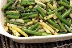 Asparagus, Green Bean, and Wax Bean Salad by Chow. An easy salad of warm-weather veggies that tastes as if you slaved over it. Feel free to riff on the recipe by adding other herbs, vegetables, or whatever else you can come up with.