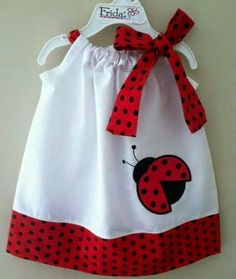 Ladybug dress:) I may have already pinned this, but oh well. Little Dresses, Little Girl Dresses, Girls Dresses, Sewing Clothes, Doll Clothes, Kids Pillows, Sewing For Kids, Sewing Ideas, Fashion Kids