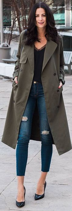 #winter #outfits black top, jeans, gree long coat, heels