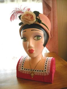 Painted Mannequin Heads | Decorative Lady Mannequin Head, Hand Painted, Styrofoam