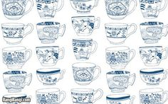 tea cups, idea, enlarge print in b for a coloring page on card stock. Pattern Art, Print Patterns, Decoupage, Tea Illustration, White Tea Cups, Food Illustrations, Delft, Art Director, Vintage Tea