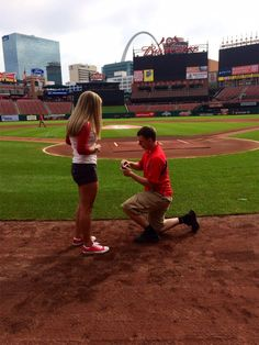 Engaged at the Cardinals field! What a story... (from a Shane Co. Couple!)