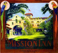 Riverside The Mission Inn Orange Citrus Fruit Crate Label Art Print | eBay