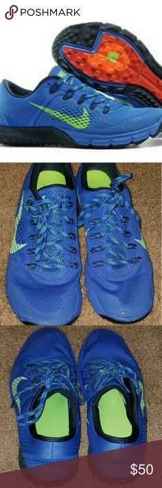 NIKE ZOOM TERRA KIGER MENS RUNNING SHOES-Offers OK NIKE ZOOM TERRA KIGER MENS RUNNING SHOES SAPPHIRE  Product no: 599117-434 Size: men's 10 Great lightweight running shoe for the road or the trails. They are preowned, worn twice (outside), but still in GREAT condition (see images)  **Reasonable offers will be considered** Nike Shoes Sneakers