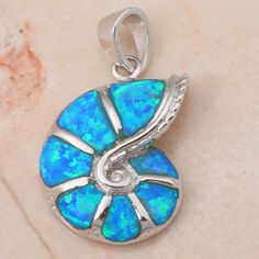 Silver Plated Lab blue Fire Opal CZ musical note Necklace Pendant For Women