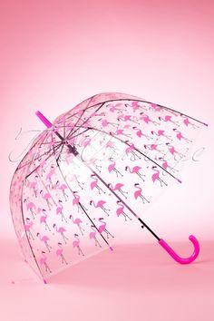 So Rainy ~ 60s Pretty Flamingo Transparent Dome Umbrella