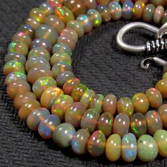 54 cts 17 4 7 mm Natural Real Ethiopian Fire Opal Gemstones Beads Necklace   eBay