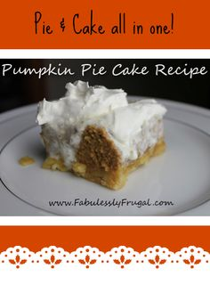 I got this recipe from my grandma. It is a fun twist on pumpkin pie. I think it is easier than making a pie crust and cheaper than buying a pie crust too. Great pumpkin pie alternative!