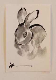 Ink art drawing rabbit drawing etegami Japanese by ArtGalleryReina, $25.00