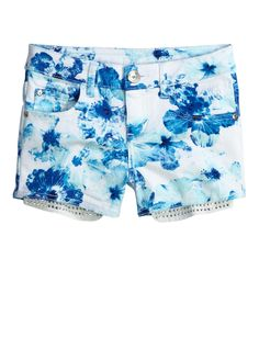 Floral Denim Shorts With Embellished Pockets | | Shop Justice