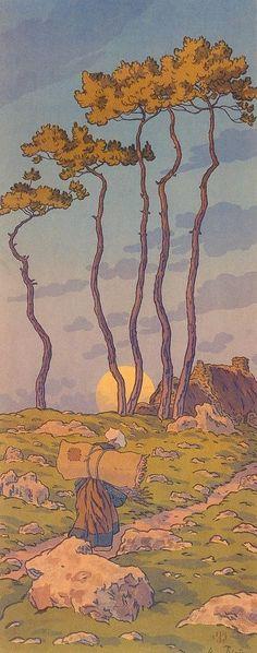 Henri Riviere lithograph circa 1900