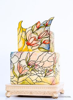modern stained-glass cake
