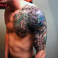 Discover sacred symbols of the ancient Egyptians and Greeks with the best geometric sleeve tattoo designs for men. Geometric Tattoo Sleeve Designs, Geometric Tattoos Men, Tattoo Designs Men, Arm Sleeve Tattoos, Tattoo Sleeves, Muster Tattoos, Biomechanical Tattoo, Geometry Tattoo, Original Tattoos