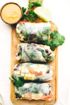 southwest vegan spring rolls with smoky chipotle sauce #vegan