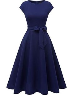 Women's Vintage Tea Dress Prom Swing Cocktail Party Dress with Cap-Sleeves Robe Swing, Swing Dress, Vintage Tea Dress, Vintage Dresses, Vintage Prom, Homecoming Dresses, Bridesmaid Dresses, Dress Prom, Dress Formal