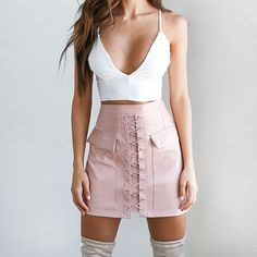PU Pockets Lace Up Bodycon Short Wool Skirt