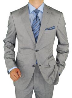 Bianco Brioni Men's Silver Gray Two Button Trim Fit Washed Cotton Stretch Suit (36 Regualr US / 46 Regular Euro, Silver Gray) Bianco Brioni, To SEE or BUY just CLICK on AMAZON right here  http://www.amazon.com/dp/B00EBGM0YI/ref=cm_sw_r_pi_dp_u3dDtb1H9X2GD5CY