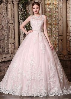 Buy discount Romantic Tulle Jewel Neckline Ball Gown Wedding Dress With Beaded Lace Appliques at Dressilyme.com