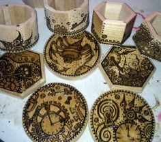 Work in Progress: Steampunk Henna Designs on Wood Boxes. Wood Boxes, Henna Designs, Steampunk, Collection, Henna Art Designs, Wooden Crates, Wood Crates, Wooden Boxes