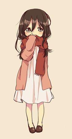 Imagem de anime, kawaii, and mikasa