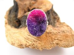 Purple Druzy Ring, Sterling Silver Stone Ring, Pink Drusy Jewelry by SimpleGem.