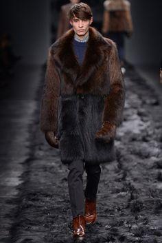 Fendi Men's RTW Fall 2014 - Fur coat and fur gloves.