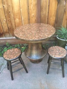 Upcycled recycled table and stools topped with pennies on Etsy, $300.00