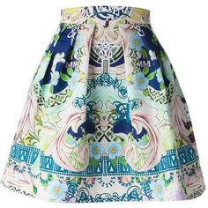 Mary Katrantzou 'Algernon' skirt ($1,259) ❤ liked on Polyvore featuring skirts, bottoms, saias, jupes, high-waist skirt, floral a line skirt, straight skirt, floral knee length skirt and pleated a line skirt