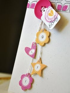 Today the design team brings you creations using the Tiny Tags. Baby Scrapbook, Scrapbook Paper Crafts, Scrapbook Cards, Tiny Tags, Simply Stamps, Hanging Letters, Candy Cards, Scrapbook Embellishments, Paper Cards