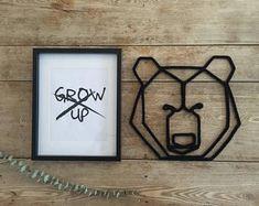 L'ours en tricotin - Tête d'ours en origami - Décoration murale