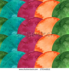 Abstract colorful fish scale seamless pattern. Watercolor, vector