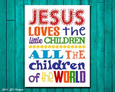 Jesus loves the little children. Childrens Wall Art by LittleLifeDesigns