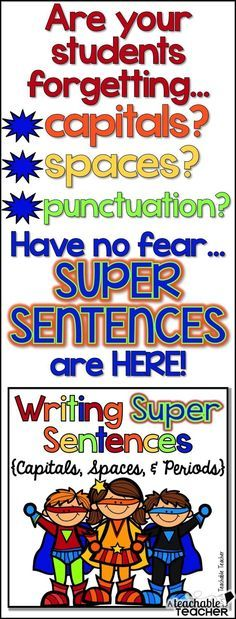 Visual posters, worksheets writing practice, and a mini book for teaching sentence writing (capitals, spaces, and periods). Great for ESL's and posters can be left up ALL year! Kindergarten Writing, Teaching Writing, Teaching Tips, Literacy, Teaching Grammar, Teaching Language Arts, Teaching French, Phonics Activities, Writing Activities